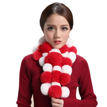 Women Winter Scarf Lady Casual Fur Scarves high quality Fur Ball Velvet Scarf Kawaii Girl Worm Cute Ball Scarf Sciarpa #598