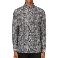 Saint Laurent Black And White Snakeskin Print Shirt