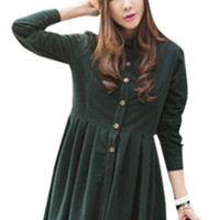 Long Sleeve High-Waist Button Detail Pleated Dress