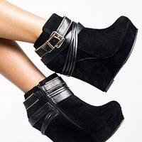 HONFLEUR-71-8-4 Strappy Platform Wedge Bootie Women Boots BLACK Bare Feet Shoes