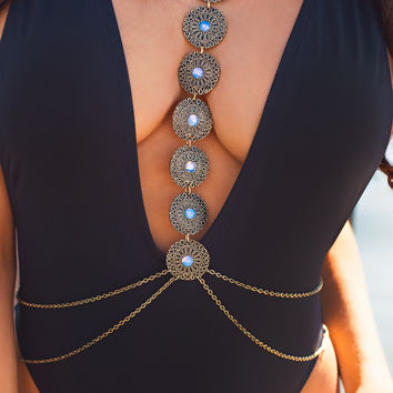 Simply Irresistible Stacked Medallion Iridescent Body Chain (Gold)