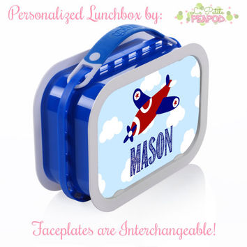 Airplane Lunchbox - Personalized Lunchbox with Interchangeable Faceplates - Double-Sided Red White and Blue Airplane Lunchbox