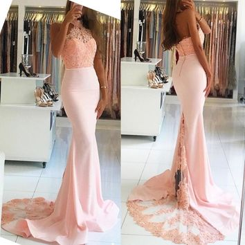 Halter Mermaid Off-the-Shoulder Blush Pearl Pink Evening Dresses Lace Appliques Long Prom Dresses