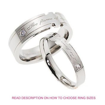 His and Hers The Flame of Our Love Engraved Cubic Zirconia CZ Diamond Anniversary Titanium Couple Band Rings (TWO RINGS)