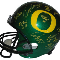 2014-2015 Oregon Ducks Team Autographed Riddell Full Size Deluxe Replica Football Helmet, Proof