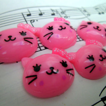 Kawaii Cabochons Flatbacks - Cute Pink Kitty Cat Face - 5 Pieces