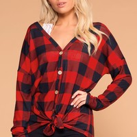Mariel Red Plaid Tie-Front Top