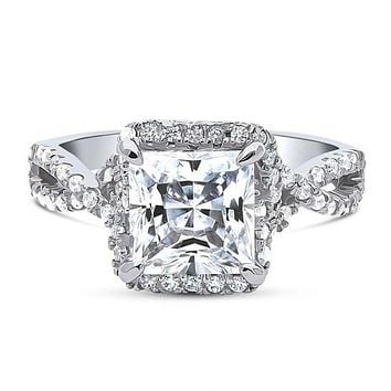 A Flawless Heirloom Collection 2.4CT Princess Cut Woven Halo Engagement Ring