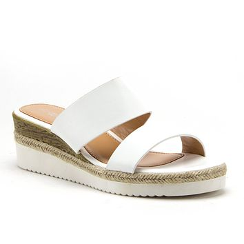 Women's Stacked Flatform Espadrilles Open Toe Slides Wedged Sandals