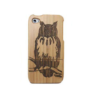 Owl Carving Wooden Phone Case for iPhone 4 / iPhone 4S