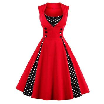 SHIPS FROM USA Women 5XL 50s 60s Retro Vintage Dress Polka Dot Patchwork Sleeveless Spring Summer