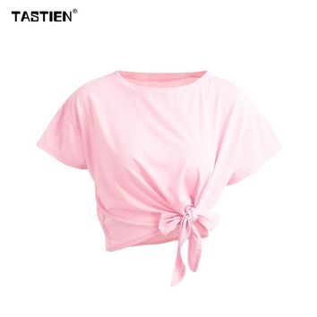 Women T-Shirt Tie Front Tshirt T shirt Short Sleeve Bow Loose Casual Short Tee Solid Crop Tops 2018 New Fashion Summer Female