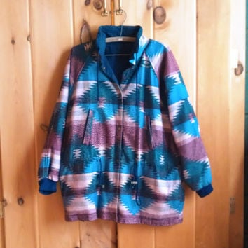Vintage jacket - 1990s Navajo / tribal print fleece jacket with lining