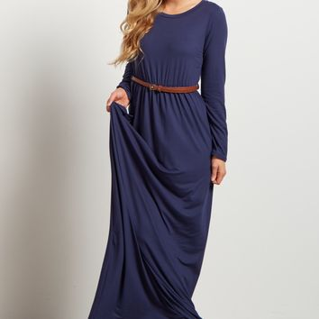 Navy-Blue-Long-Sleeve-Belted-Maxi-Dress