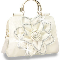 * White Rhinestone Accented Layered Petal Handbag  M