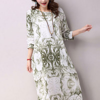 Floral Print Shift Chic Cotton Flax Dress