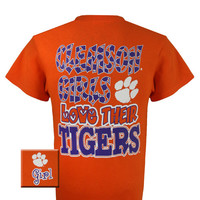 New South Carolina Clemson Girls Love Their Tigers Girlie Bright T Shirt