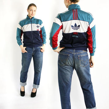 Vintage 80's 90's Adidas Green Navy Blue White Red Stripes Sport Track Jacket, Adidas Windbreaker, Trefoil Jacket - Small Petite