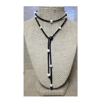 Boho Suede Leather Fresh Water Pearl Loose Ends Multi Wrap Laria