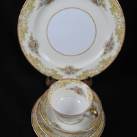 1933 Noritake, Japan, 5 Pc. Place Setting, Noritake Fine China, Batista Pattern #601, Morimura Japan