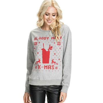 Winter Women's Fashion Alphabet Pullover Long Sleeve Hoodies [9307407428]