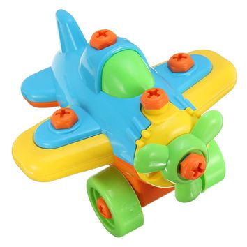 DIY Small Plane Disassembling Jigsaw Building Blocks  Educational Toys For Children Assembled Model Tool Clamp With Screwdriver