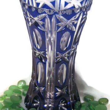 Beautiful Vintage Bohemian Cobalt Cut to Clear Vase Ovals, X's and Vertical Cuts