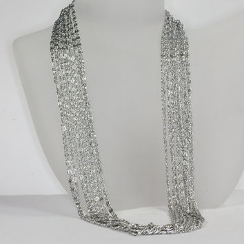 Silver Tone Multi Chain Necklace Sarah Coventry Vintage