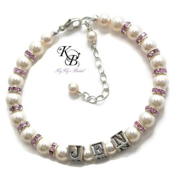 Personalized Birthstone Bracelet, Mothers Bracelet, Birthstone Bracelet, Personalized Gift, Anniversary Gift, Mothers Day Gift | KyKy's Bridal, Handmade Bridal Jewelry, Wedding Jewelry