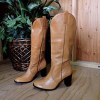 90s tall  leather boots / size 10 / taupe brown knee high boots / Franco Sarta / made in Brazil / Taupe brown high heel tall boots