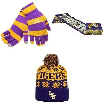 Licensed NCAA LSU Tigers Glove Stripe Knit Spirit Scarf And Subartic Beanie Hat 25427 KO_19_1