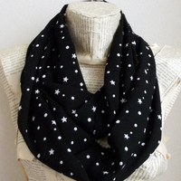 Stars and Polka Dots  Cotton Infinity Scarf Black Lightweight Cosmo Galaxy, Women Accessories