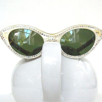 french cateye sunglasses 1950s cat-eye rhinestone with leather case mother of pearl mid century midcentury 1950 1960