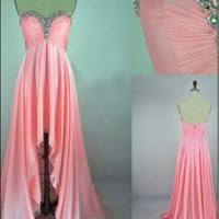 Fascinating Pink A-line Sweetheart Asymmetrical Prom Dress