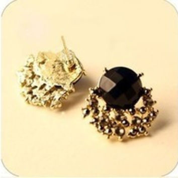 Black Gem Stone Stud Earrings For Trendy Women