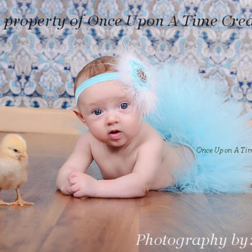 Tiffany Blue Newborn Infant Couture Tutu - Perfect for Photo Prop, Dress Up, Costume, Gift, Newborn Girl Infant Size 3 6 9 12 Months