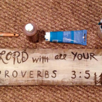 Bible verse distressed wood sign