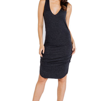 Striped Vesper Mini Dress in Charcoal Black