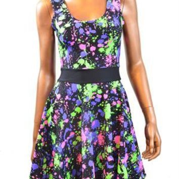 Neon UV Glow Splatter Paint Skater Dress