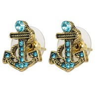 Antique Blue Pattern Bronze Rhinestone Paved Nautical Anchor Stud Earrings