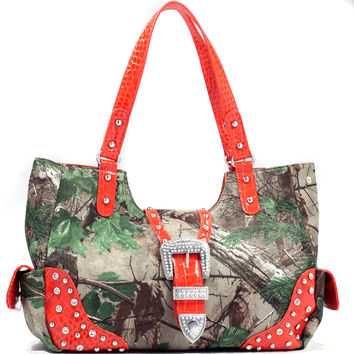 Realtree Camo Rhinestone Buckle Studdded Handbag - 51556