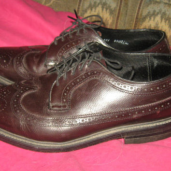 Vintage 60s Mens Executive Imperial cordavon brown wingtip shoes sz 7