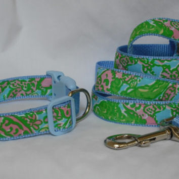 Dog Collar and Leash Set Made from Lilly Pulitzer Chomp Chomp Fabric on Blue Size: Your Choice
