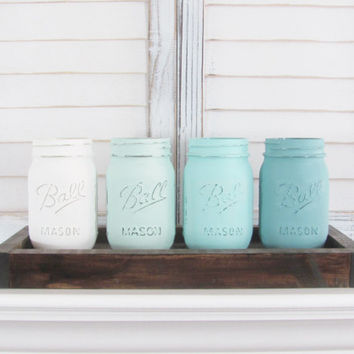Ombre, Rustic Decor, Painted Jars, Mason Jars, Table Topper, Party Decor, Shabby Chic, Set of 4 Jars, Party Centerpiece, Country Decor