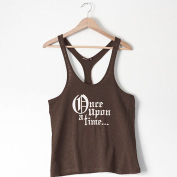SALE - Once Upon a Time Oversized Racer Back Tank in Raisin