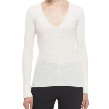 Libbey Ribbed V-Neck Sweater, Ivory, Size: