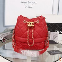 HCXX 19Sep 533 Fashion Leather Crossbody Pouch Quilted Chain Classic Logo Bucket Bag Size 24cm