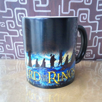Light magic lord of the ring coffee mug changing color Hot Cold Heat Sensitive Color changing Ceramic Mug best gift for friends
