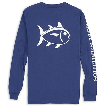 Long Sleeve Outlined Skipjack Tee in Blue Night by Southern Tide