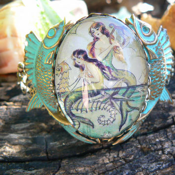 mermaid cuff verdigris fish cuff bracelet mermaid jewelry mermaid cameo siren fantasy resort wear cruise wear beach wear hipster gypsy boho